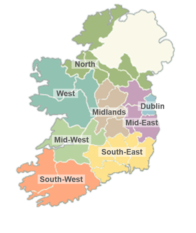 Regional Map Of Ireland.Ireland Regional Map Mrbb Broadband Packages For Business And